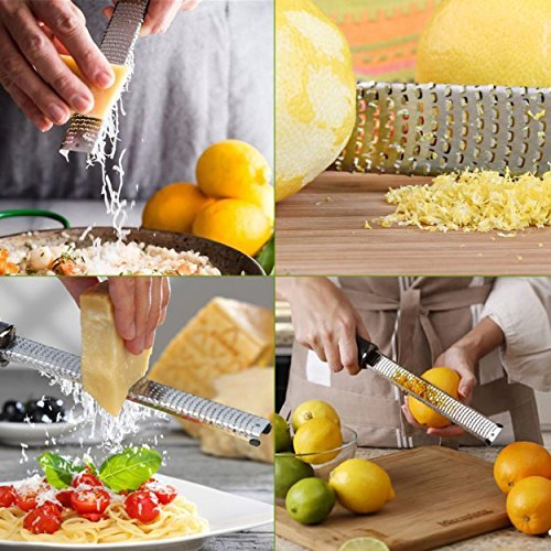 Orblue Zester Stainless Steel Grater, Cheese, Lemon, Ginger & Potato Zester with Plastic Cover, Long Ergonomic Handle with Rubber Base (Black) by Orblue (Image #5)