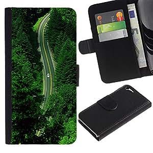 WINCASE Cuadro Funda Voltear Cuero Ranura Tarjetas TPU Carcasas Protectora Cover Case Para Apple Iphone 5 / 5S - unidad de la naturaleza verde esperanza verano