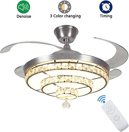 DLLT Crystal Ceiling Fan with Light, 36W Modern Ceiling Fan Remote, 4-Blade Retractable Led Fan Chandelier Outdoor Indoor for Living Room, Bedroom, Dining Room, Color Changeable 3000K-6000K Nickel