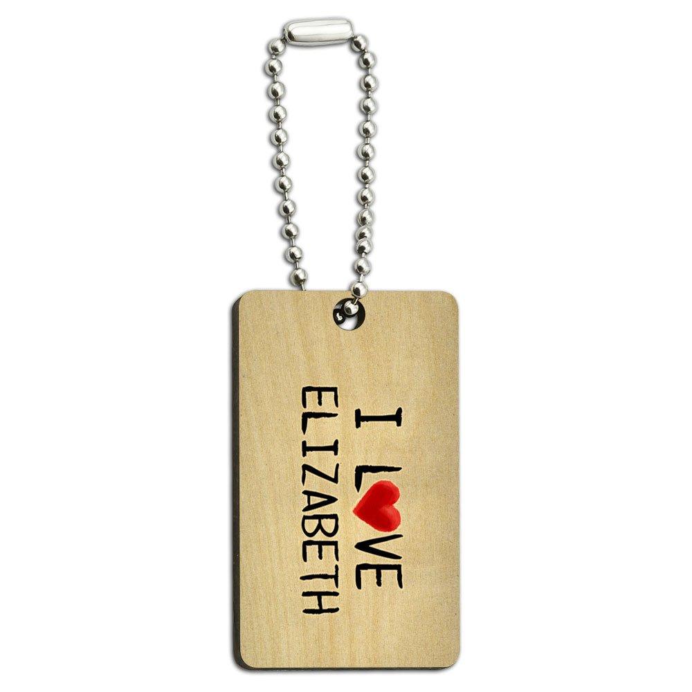 I Love Elizabeth Written on Paper Wood Wooden Rectangle Key Chain