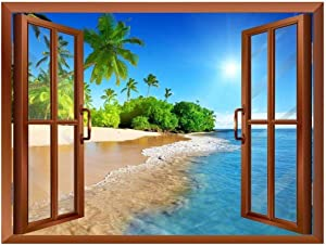"""wall26 Beautiful Landscape of Palm Tree on The Beach and Clear Sea View from Inside a Window Removable Wall Sticker/Wall Mural - 24""""x32"""""""