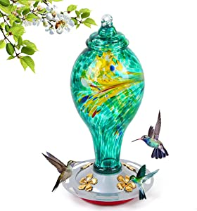 Hummingbird Feeder for Outdoors,36 Ounces Upgraded Wild Bird Feeder with 4 Feeding Ports and 8 Standing Stations,Hand Blown Glass Hummingbird Feeder Hanging for Outside Garden Yard Tree Decoration