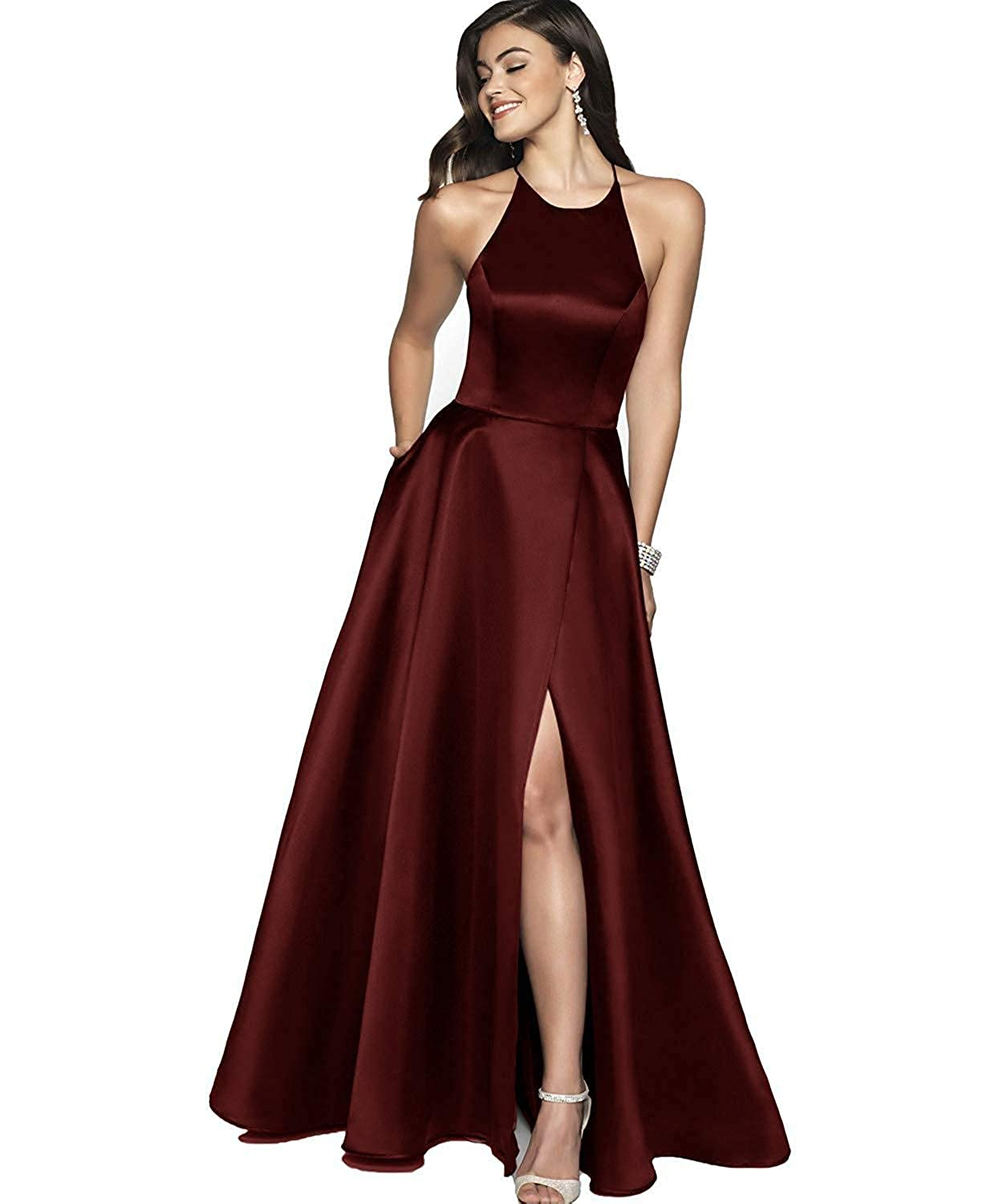 Burgundy NewFex Halter Prom Gowns with Pockets Satin Aline 2019 Split Formal Evening Dresses