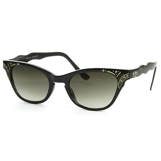 029d2613d8b3 Vintage Inspired Womens Fashion Rhinestone Cat Eye Sunglasses w/Key-Hole  Bridge (Black