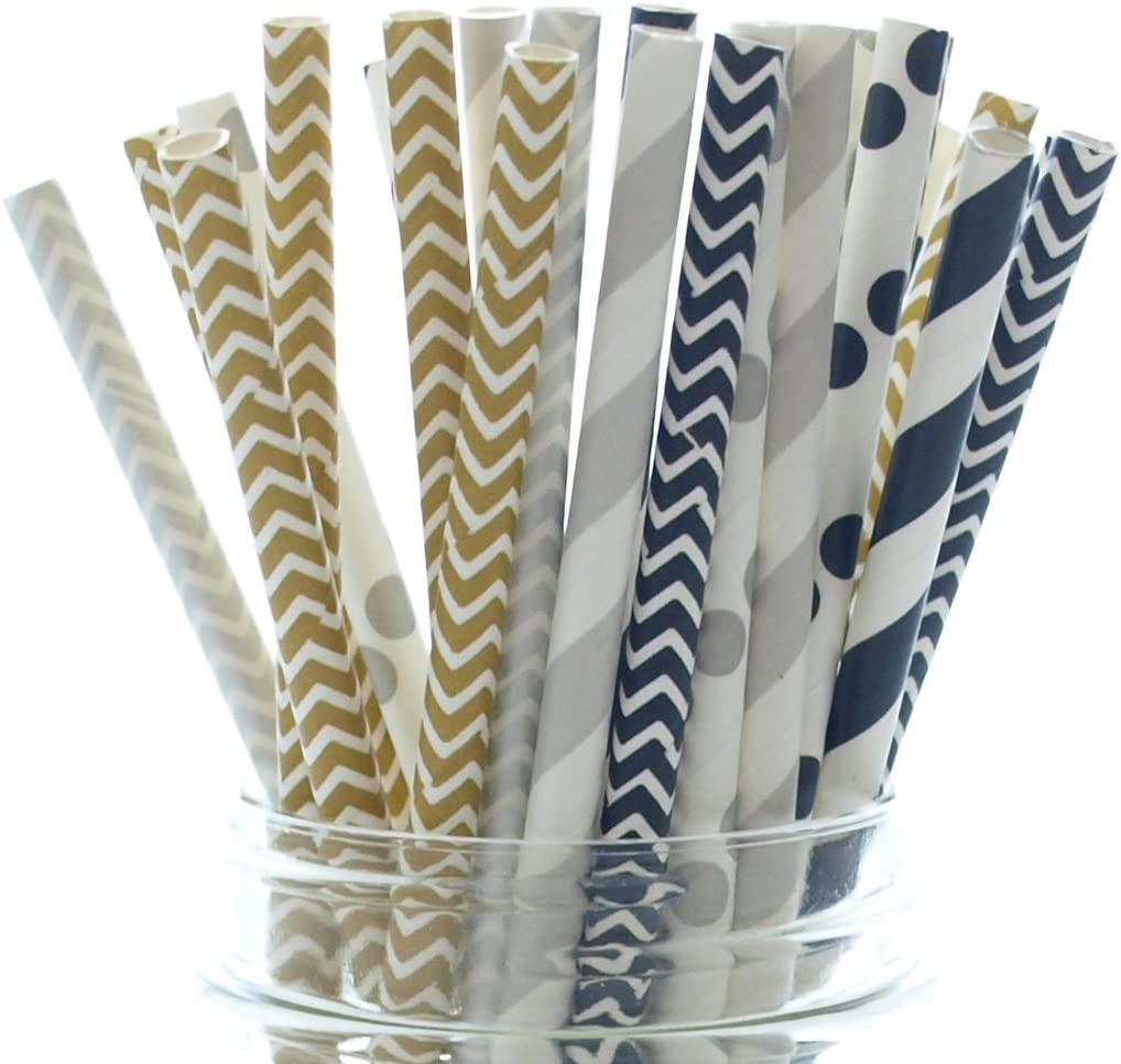 Graduation Party Straws (25 Pack) - Black Gold and Silver Straws, Graduation Party Supplies, HIgh School or College Commencement Paper Straws, New Year's Eve Party Decor