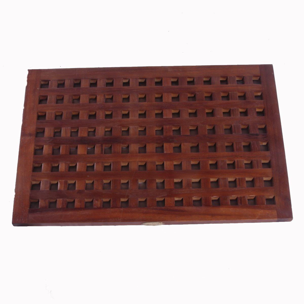 Decoteak Floor Bath Mat, 31'' x 18'', Brown