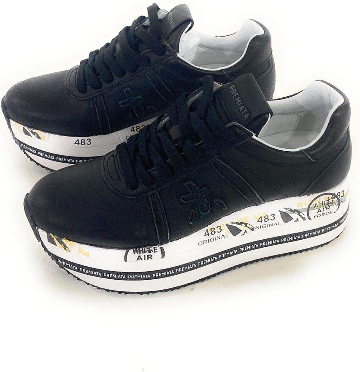 PREMIATA Scarpe Donna Sneakers Beth 3873 Pelle Nera Nuove Nero