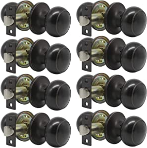8 Pack Probrico Interior Passage Keyless Door Knobs Door Lock Handle Handleset Lockset Without Key Doorknobs Oil Rubbed Bronze for Hall/Closet-Door Knob 609