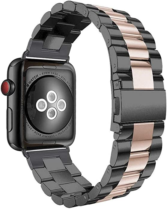 Aottom Compatible for Apple Watch Band 40mm 38mm iWatch Series 6/5/4/3/SE Band Stainless Steel Metal Bracelet Wristband Replacement Band for 38mm 40mm Apple Watch SE Series 6/5/4/3/2/1,Black/Rose Gold