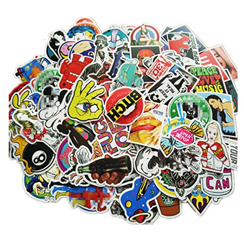 - 100 Pieces Waterproof Vinyl Stickers for Personalize Laptop, Car, Helmet, Skateboard, Luggage Graffiti Decals (E - section)
