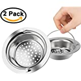 """2PC Stainless Steel  Kitchen Sink Strainer - Large Wide Rim 4.33"""" Diameter  Perfect Your Sink Not Clog"""
