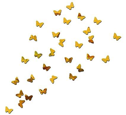 Wall1ders Dakshita Butterflies 3D Acrylic Mirror Wall Stickers  Golden    Pack of 30 Wall Stickers   Murals