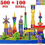PlayShire Fun Flakes - Large 500 + 100 Extra Pieces STEM Toy Set. Free 30+ Designs Idea Book | Non-Toxic Kids Toy | Educational & Creative Construction/Building Toy | Fun Learning Boys & Girls Toy