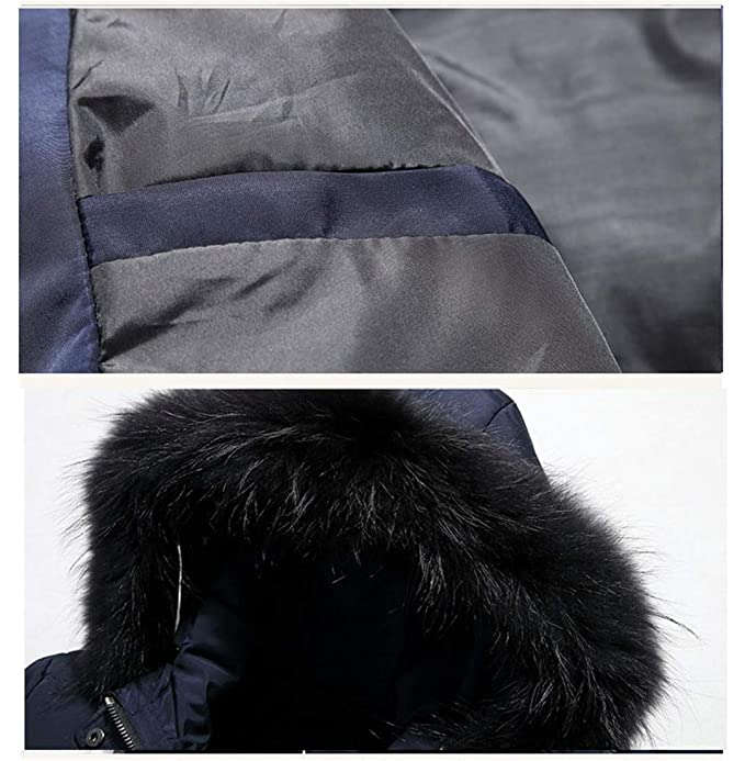 FEN&Fanxut Men Winter Jacket White Duck Down Wadded Coat Thick Parkas Warm Fur Collar Hooded Snow Quilted Jackets Outerwear at Amazon Mens Clothing store: