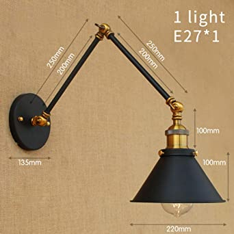 Flexible Wall Lights Adjustable Black Bedside Wall Lamps Retro Wall Mounted Lamp Bedroom Indoor Interior E27 Wall Reading Lights B Amazon Co Uk Lighting