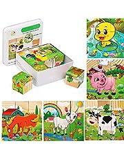 Felly Houten puzzel vanaf 2 jaar, 9 stuks dobbelstenen, kinderpuzzel Montessori speelgoed educatief speelgoed pedagogisch cadeau voor jongens en meisjes kinderen 3 4 5 jaar, (dierenpuzzel)