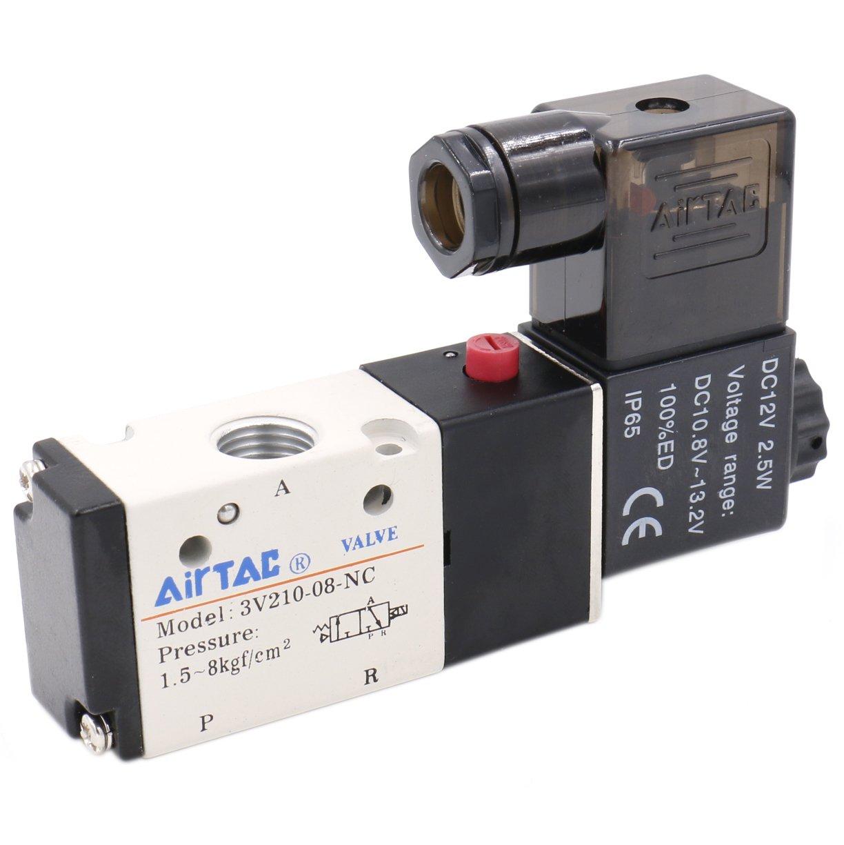 Heschen Electrical Pneumatic Solenoid Valve 3V210-08 12VDC PT1//4 3//2 Way CE