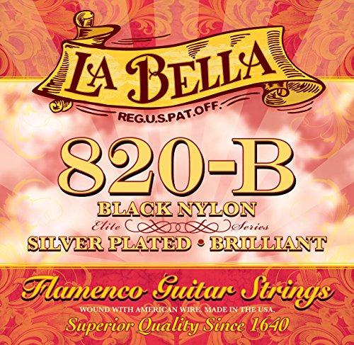 La Bella 653917 Flamenco Nylon Silver Plated String Set for Classic Guitar - Black