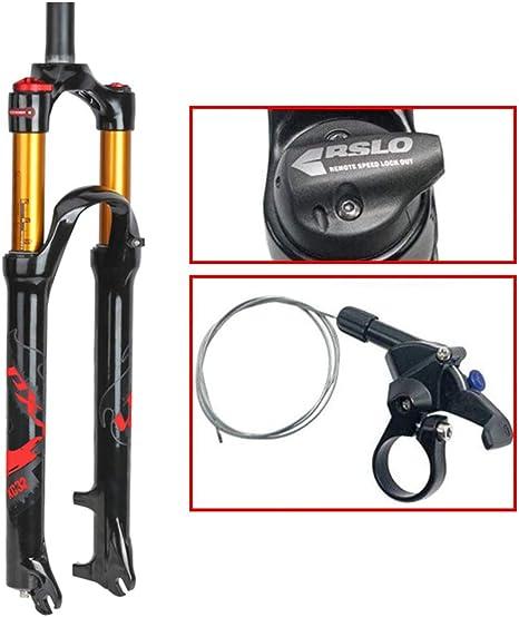 Seguro Horquilla de Suspensión para Bicicleta de Montaña de 26/27.5/29 Pulgadas Aleación Ligera de Magnesio MTB Bicicleta Horquilla de Gas Control de Hombro Suspensión Delantera Presente, Red, 26 inch: Amazon.es: Deportes y