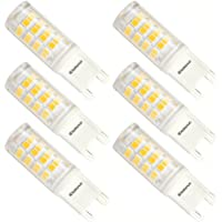 Kakanuo G9 LED Bulb 3W Equivalent 40W Warm White 3000K 380Lumens AC100-265V Non-Dimmable Energy Saving 52x2835SMD (Pack of 6)