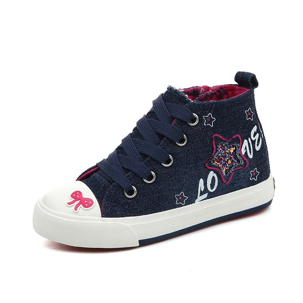 Toddler//Little Kid//Big Kid GIY Girls High Top Canvas Sneakers Kids Casual Shoes with Glittering Stars
