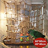 Bird Climbing Net, Parrot Climbing Toys Thicken Chew Rope Net Hammock Hanging Ladder Habitat for Macaw African Greys Cockatoo Budgies Parakeet Cockatiel (Parrot Climbing net,60x60cm)