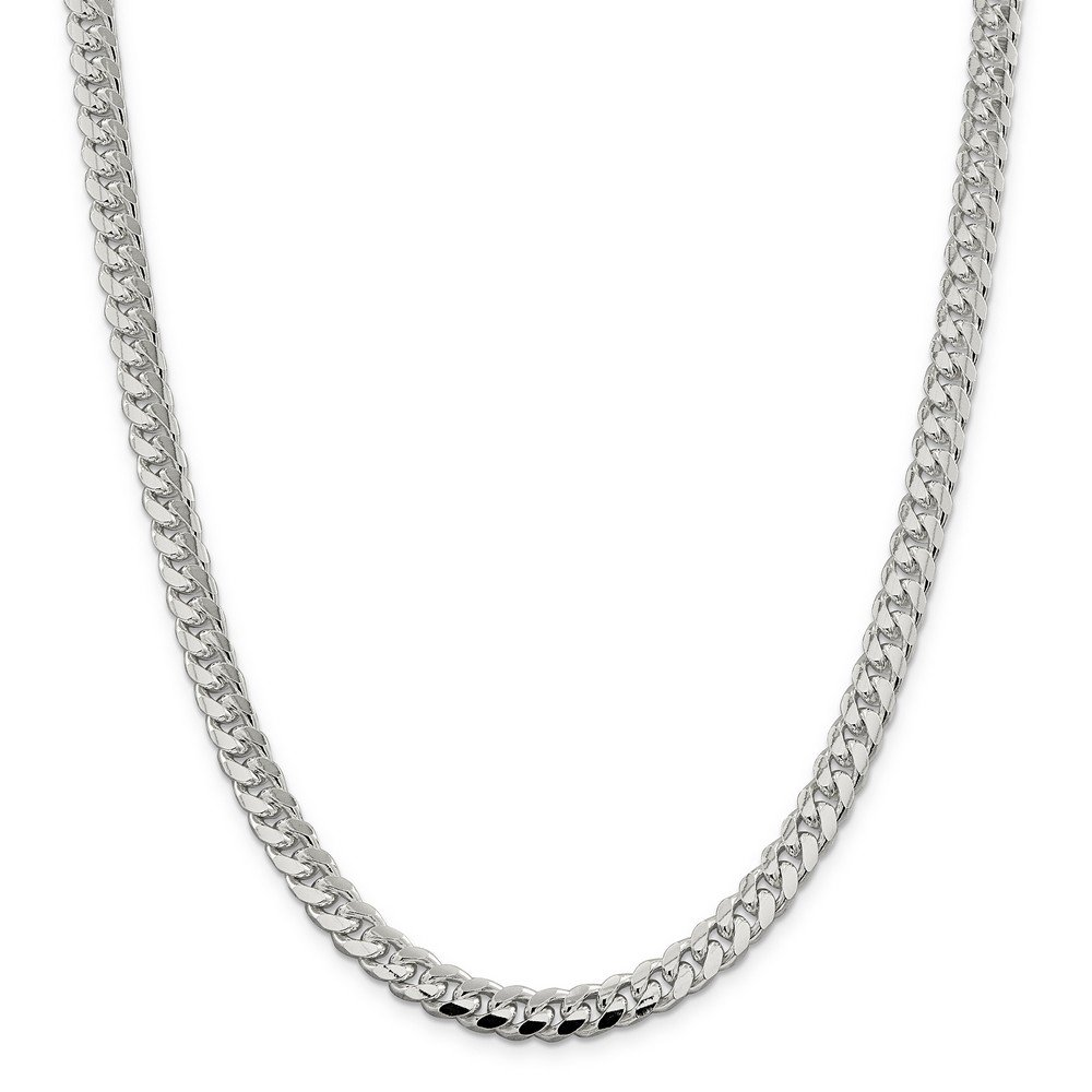 Sterling Silver 7.35mm Domed Curb Chain Bracelet - 9 Inch