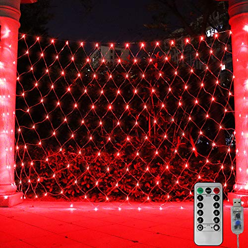 ASmile 204 LED Net Light Bushes Mesh Lights, USB 8 Modes Starry String Lights Remote Timer Waterproof Tree-Wrap Lamp for Bar, Walkway, Yard, Garden, Wall Decor-9.8ft x 6.6ft(Red)