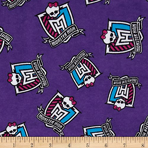 David Textiles Monster High Flannel Crest Toss Furrocious Purple Fabric by The Yard