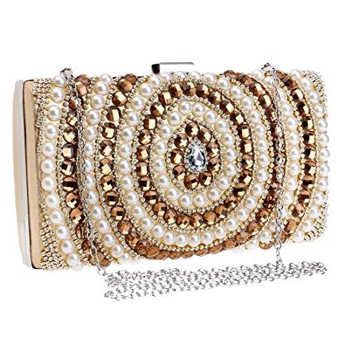 Color Banchetto Hungrybubble di a tracolla Gold sposa da sera abito lusso borsa Blue donna borsa da da Pochette perla RptqrRa