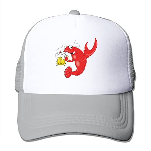 91c5524216d9ed Amazon.com: DACHEN Adut Crawfish With Beer Snapback Baseball Cap Outdoor  Sports Mesh Hat Sun Hats Ash: Clothing