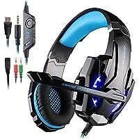 AFUNTA Auriculares Gaming PS4, PC, Xbox One Controller, Auriculares micrófono Que Cancela el Ruido Sobre el oído, luz LED, Auriculares envolventes Bajos-Negro + Azul