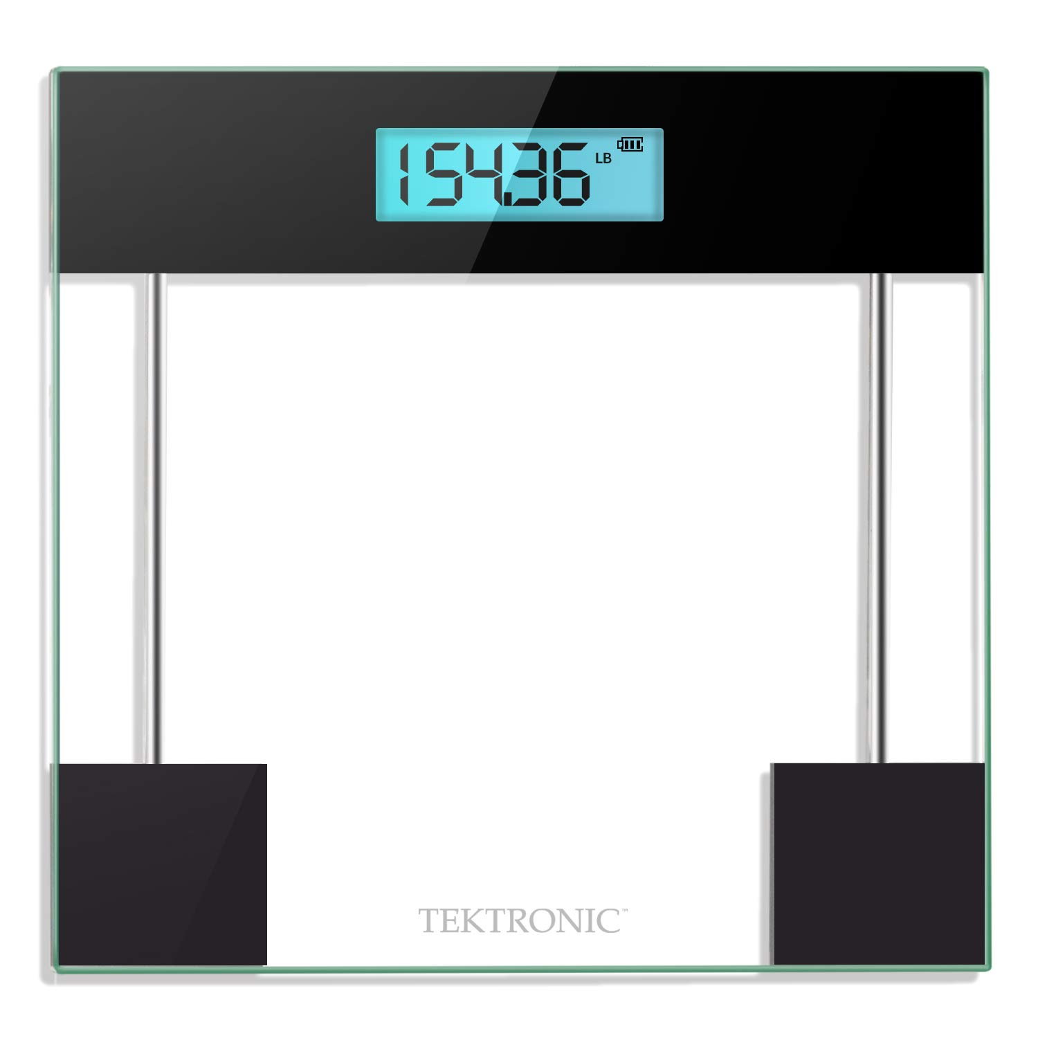 TekTronic Digital Body Weight Bathroom Scale with Step-On Technology - High Precision - Body Tape Measure - 8mm Tempered Glass (Max 400 lbs. Elegant Black)