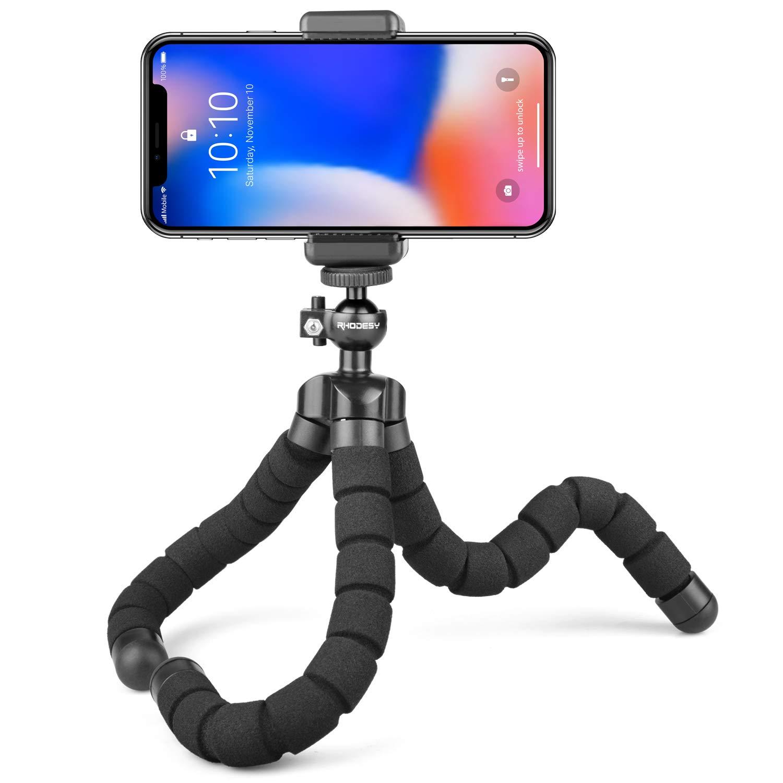 Trípode portátil Rhodesy RT-01 Octopus Style con soporte para iPhone, cualquier teléfono inteligente, cámara con clip universal
