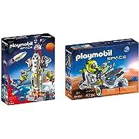 PLAYMOBIL Space Cohete con Plataforma de Lanzamiento, A Partir de 6 años (9488) + Vehículo Espacial Juguete, Multicolor…