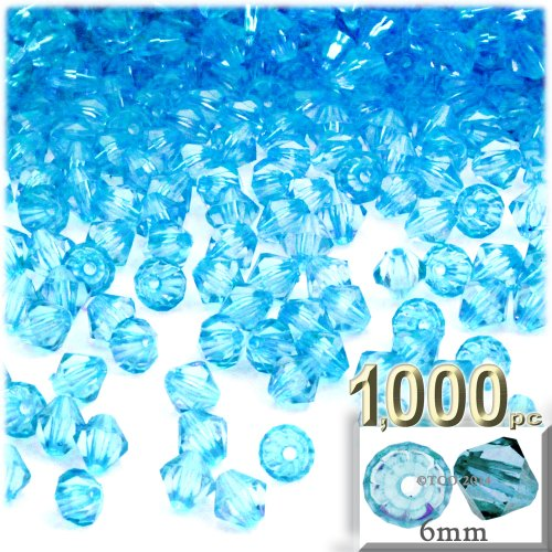 (The Crafts Outlet, 1,000-pc Acrylic Bicone Beads, Faceted, 6mm, Light Aqua Blue)