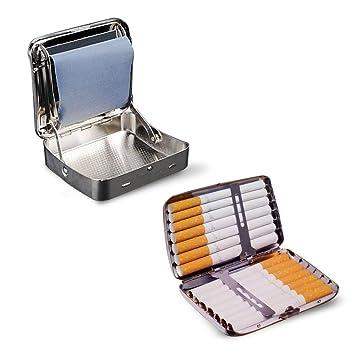 Máquina para Liar de Metal de 78mm + Pitillera 14 Cigarrillos: Amazon.es: Equipaje
