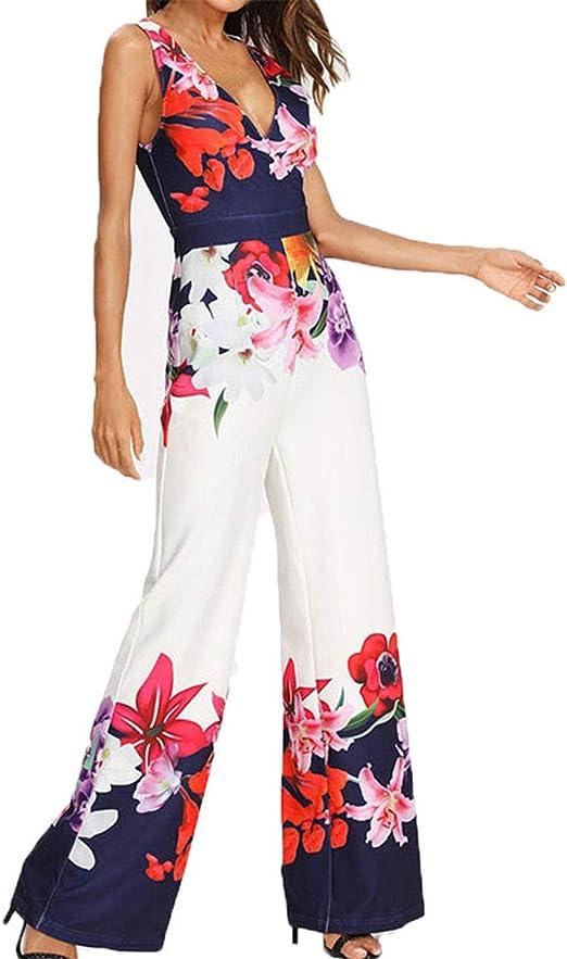 Women Floral Sleeveless Romper Jumpsuit Ladies Casual Summer Wide Leg Playsuit