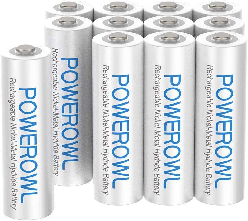 Paquete de Pilas AAA NI-MH POWEROWL Alta Capacidad -Recargables 1000 mAh, paquete de 12, baja autodescarga.