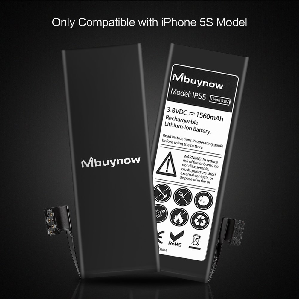 Mbuynow Batería del iPhone 5S,Kit de Reparación Completo con Herramientas e Instrucciones de Alta apacidad (1560mAh) Nuevo 0 Ciclo