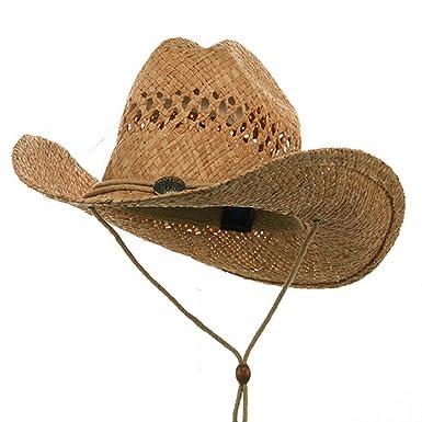 70f3c4e8fd7 Raffia Straw Cowboy Hat-Natural at Amazon Men s Clothing store