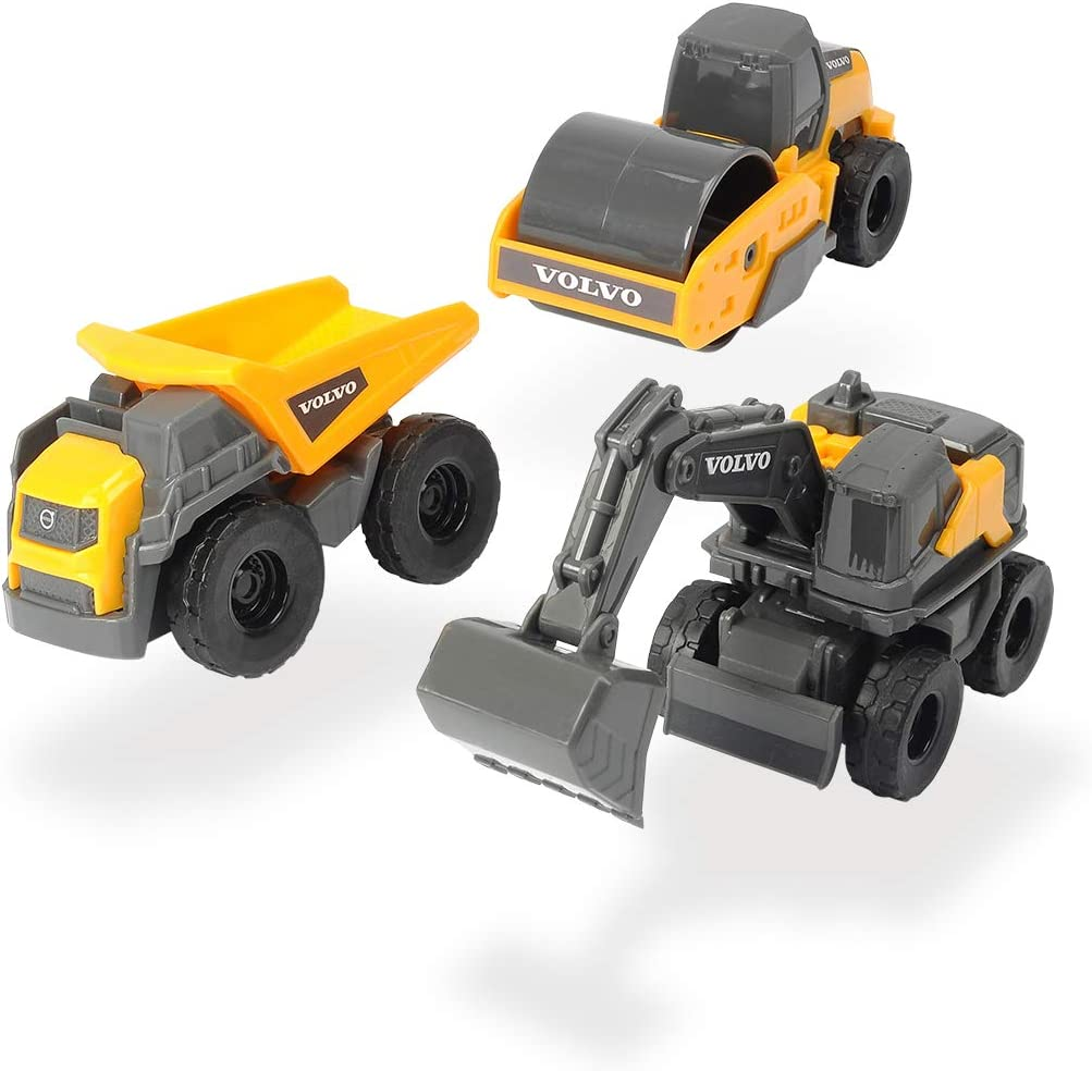 Dickie Toys 203722009 Set 3 vehículos construcción Volvo Micro 9 cm, surt. 3