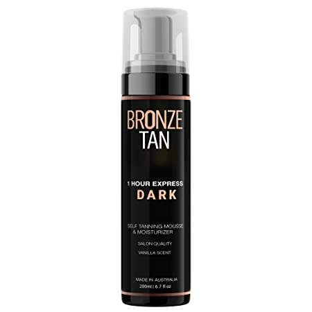 Bronze Tan Dark Moisturizing Self Tanning Mousse and Sunless Tanner For Fair to Medium Skin Tones Salon Quality Vanilla Scented 200 ml 6.7 oz