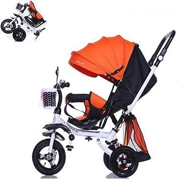 Triciclo Plegable Niños Bicicleta Bebe Evolutivo Bicicleta para Bebes Evolutivo Asiento Giratorio Parasol y Putter 1-6 año Tricilo para Niños con Cubierta de Lluvia, Orange: Amazon.es: Deportes y aire libre