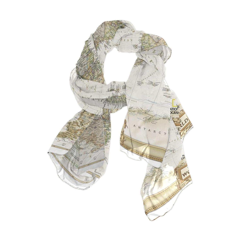 Lightweight Shawl Wrap Sheer Scarves,Vintage World Map,Oblong Chiffon Scarf