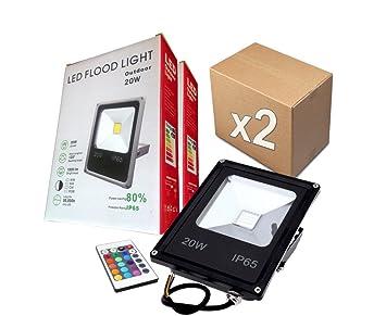 PACK 2 FOCOS PROYECTORES LED RGB 20W con Mando Remoto - Exclusivos ...
