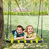 Joymor 40'' X 30'' Kids Giant Mat Platform Web Swing With Adjustable Tree Rope,Great for Tree, Swing Set, Backyard, Playground, Playroom(Yellow)