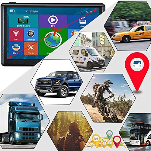 "E-ACE GPS Navigation for Car 7"" Touchscreen 8GB Memory Vehicle GPS Navigator System Real Voice Spoken Turn Direction Reminding GPS for Car with Lifetime Free Map Update (G745, 7 inch)"