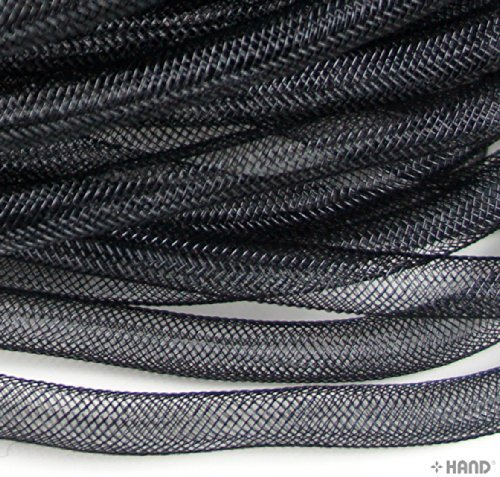 Trim Millinery (HAND Elastic Lightweight Millinery Tubular Crin Assorted Plain Colours Trim - diameter 8 mm, appx 30 meters per pack (Black))