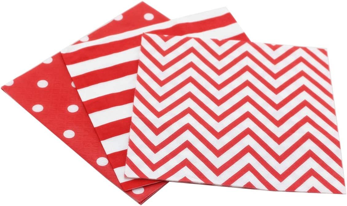 Disposable 2-ply Party Napkins, Striped Chevron Polka Dot Paper Napkins for Birthday, Christmas or Anniversary Celebration Beverage Napkins 60-Count,13